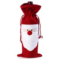 bag party at home - Christmas Santa Claus red wine bottle cover bags Christmas dinner table decoration at home come party decors