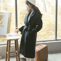 belted tweed coat - 2016 winter new Korean Han van full long wool coat dress warm wool tweed coat blet