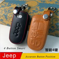 Wholesale eychain leather Genuine Leather Car Keychain Key Fob Case Cover for Jeep Cherokee Grand Cherokee Wrangler Compass Patriot Smart Key