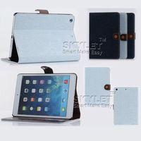Ipad Case Mini étui en cuir pour Samsung Galaxy Tab 4 onglet S Ipad mini denim lignes de conception de stand en cuir de luxe étui 10 pièces DHL Free