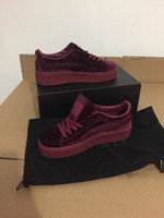 PU bag cuttings - With original box And Dust Bags New Velvet Rihanna x Suede Creepers Rihanna Creeper Red Women Fashion Running shoes
