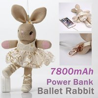 ballet designs - 7800mAh Power Bank Lovely Ballet Rabbit Cartoon Design Plush Doll Portable Charger External Battery Universal Powerbank For iPhone Android