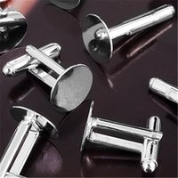 Wholesale New Arrival Cufflink Cuff Link Cloth Metal Backs Blanks Plate Findings mm FASHION for suits