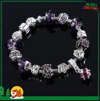 Wholesale DIY Handmade Pandora Beads Bracelets European Charms Multi Color Crystal Beaded Bracelets Silver Plated Magnetic Clasp Charm Bracelet