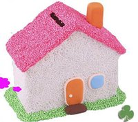Wholesale Children S Banks Gifts - 2016 new DIY manual Wooden houses Money bank Color painting Pearl mud Children 's creativityHoliday gifts