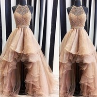 Wholesale 2017 High Low Gold Prom Dresses Real Photo Weddings Gowns Halter Beaded Puffy Formal Beach Special Occasion Party Dress Custom Made