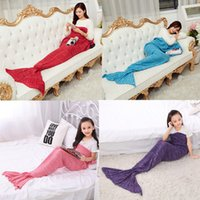 Wholesale Autumn Winter Yarn Knitted Mermaid Tail Blanket Super Soft Handmade Ladies Blanket Crochet Anti Pilling Portable Blankets DHL Free OTH317