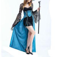 Oro manos mujeres vestir bruja traje de Halloween Cosplay carnaval partido vestido de lujo vestido de encaje con bruja magia sombrero desgaste de la etapa