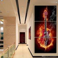 Музыкальное искусство 3-х панельная стенная живопись Современные домашние декоры Черная гористая гитара Поп-арт Картины Украшение на холсте Картина Напечатано, Без рамы