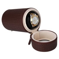Wholesale New High Quality Brown Cylinder Automatic Mute Watch Winder PU Leather Watch Winder Box Hot Selling