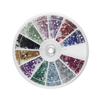 Wholesale set mm Round Rhinestones Colors Hard Case d Nail Art Tips Decoration set Created Acrylic UV Gel