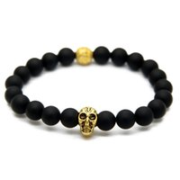 antique gold skull ring - New Design Yoga Jewelry Top Quality mm Black Matte Agate Stone Bead with Antique Silver and Gold Skull Bracelets for Men