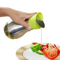 17.5*8.5*8.5cm(400ML) baking essentials - Kitchen Cooking Baking Essential Ware Silver Stainless Steel Olive Oil Bottle Jar Pot Flask Tool Can Oil Bottles Cookware