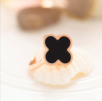 band onyx - Clover Black Onyx Silver Ring Carnelian female ring opening Japan and South Korea creative minimalist Clover