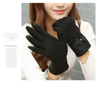 Wholesale 2016 Fashion elegant Leather Lace Bow Women Winter Gloves Female Ladies Girls Touch Screen Mittens Sheep Wool Glove Mitten Guantes