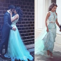 aqua specials - Aqua Piece Prom Dresses Long Gorgeous Appliqued Tulle Special Occasion Party Dress A Line Evening Gowns