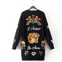 bee cardigan - Bee Butterfly Tiger Embroideryon LKnitted Women Long Cardigan Plus Size V neck Long Sleeve Sweater Outerwear pull femme XDWM688