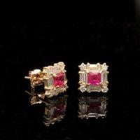 baguette diamond earrings - 1CT Princess Ruby Baguette Round Diamond Earrings Square Stud K Yellow Gold
