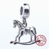 animal crossing rock - Dangle Rocking Horse Sterling Silver Bead Fit Pandora Bracelet Fashion Jewelry DIY Charm Brand