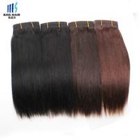 Cabello Liso Brasileño 3 Paquetes Extensión de Cabello Humano Color Natural 2 4 Marrón Oscuro Cabello Brasileño Tejido Sedoso Derecho