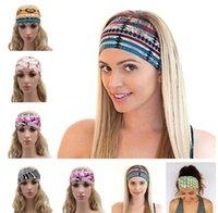 bandana fabric - 17 Colors Bohemia fabric print Sport Fashion Yoga Stretch Headbands Women Turban Bandana Head wrap Hair Accessories LC442