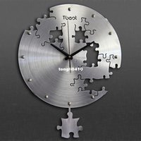 Wholesale 38x50cm Irregular swing wall clock wall paste living room bedroom TV sofa background wall decoration clock stickers