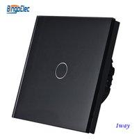 Сенсорную панель Цены-Оптово-BINGOELEC 1Gang 1way черная панель сенсорного экрана смарт-переключатель, Сенсорный выключатель света EU / UK стандарт AC110-250V
