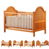 Wholesale Moon boat baby bed solid wood multi function BB baby bed European style import variable child bed long white