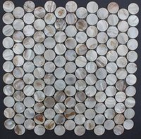 Wholesale natural Brown Round Circles Wall Tiles Mother of Pearl Shell Backsplash