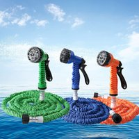 17 cm as pic 5 cm Wholesale-New Water Hose Spray Gun Promotion 7 in 1 Multifunction 25FT Durable Latex Expandable Garden Hose Flexible Spray Gun Car Washer