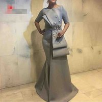 big apple pictures - 2017 Popular Half Sleeves Satin O neck Gray Mermaid Evening Dress with Big Bow Crystal Beaded Floor Length South African Prom Evening Dress