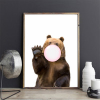 bear picture frames - Kawaii Animal Hello Bear Bubble Nordic Canvas Painting Art Print Poster Wall Picture Room Decor No Frame