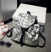 Wholesale Women Backpack New Geometric Patchwork Laser Flash Diamond Lattice PU Leather Backpack Ladies Brand Drawstring Bags