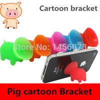 Wholesale Cute pig shape colored plastic mobile phone holder universal cell phone holder seat lazy phone holder