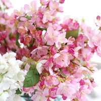 Wholesale Artificial Silk Spring Cherry Blossoms Flower Fake Flower for Home Wedding Decoration Party Decoration Flower wall White Pink Green