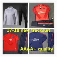 Top Quality 2017 2018 PSG Adults soccer jerseys jacket chandal football  tracksuit NEYMAR JR PSG 17 18 Men black training suit Sportsw shirt ... 074e8d4e0