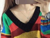 Wholesale Cardigan Out Wear - European 2016 new women's wear chromatic stripe big yards han edition fashion knitting cardigan knitting sweater