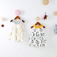 achat en gros de robes de géométrie-INS styles nouvelle arrivée Girl robe enfants été sans manches 100% coton géométrie impression tour dow col robe fille robe de dressage Livraison gratuite