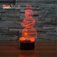 Wholesale Tall Snowman D Illusion Light cm Laser Engrave D Christmas LED Novelty Night Light with Acrylic
