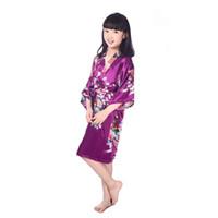 Wholesale New Pajamas Flower Kimono Kids Nightgown Sizes Kids Girls Robe Satin Small Children Kimono Robes Bridesmaid Color