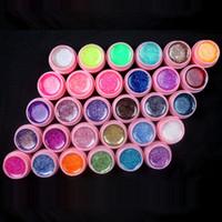 Grossiste - Nouveau 30 Couleur Glitter UV Gel Builder Faux conseils acrylique Nail Art Polonais kit Set pot rose
