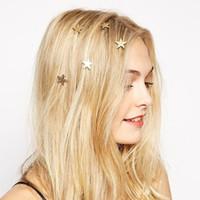 al por mayor pasadores american girl-Europeos American Boho Moda Chicas Rotating Hair Pin Joyas De Oro Full Estrellas Giratorio Spring Hair Clip Mujeres Barrette De Pelo Tocado