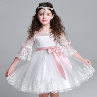 Wholesale Weddings Events Kids Formal Wear Flower Girls Dresses white vintage party Ball Gown pageant First communion Princess dress special occasion