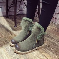 Wholesale 2016 new winter boots with velvet Martin boots low side zipper boots a warm boots No