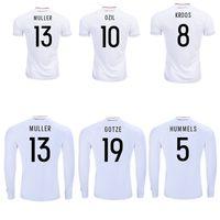 Wholesale 2017 Germany jerseys thai quality soccer jersey OZIL MULLER GOTZE HUMMELS KROOS BOATENG REUS home shirts longsleeve