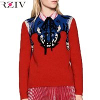 Wholesale RZIV women casual tiger mosaic three color sweater hedging
