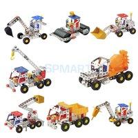 Venta al por mayor - Metal DIY Juguete Ensamblaje Modelo Kit Construcción Bloque Construcción Camión Simulación Ingeniería Vehículo Excavador Kid Toy Collectible
