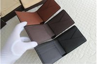 Wholesale 2017 Classic Hot Selling Women Genuine Leather Short Wallet Brown Mono Brown Checker V Plaid White Men Purse