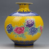 achat en gros de qianlong porcelaine-Collection chinoise Porcelaine colorée main peint vase w Qianlong Mark