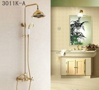 Wholesale Fashion Europe style luxury high quality brass gold finished wall mounted shower faucet set with rainfall shower head